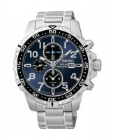 Seiko - Gents Solar, Chronograph, Blue Dial, Stainless Steel Watch