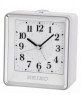 Seiko - White and Silver Plastic Quiet Sweep, Snooze and Flashing Light Alarm Clock