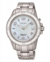 Seiko - Ladies Sportura Kinetic, Mother of Pearl Dial, Stainless Steel Date Square Watch
