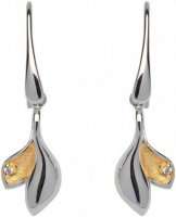 Unique - Cubic Zirconia Set, Silver with Yellow Gold Plated Drop Earrings