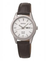 Seiko - Ladies Solar, Stainless Steel and Black Leather Day/Date Watch