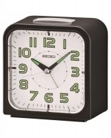 Seiko - Black and White Plastic Bell Alarm, Snooze and Light Alarm Clock