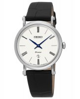 Seiko - Ladies Premier, Stainless Steel with Black Leather Date Circle Watch
