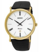 Seiko - Gents Premier, Yellow Gold Plated with Black Leather Strap Date Circle Watch