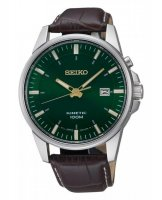 Seiko - Gents Kinetic, Green Dial, Stainless Steel and Brown Leather Date Square Watch