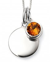 Gecko - Beginnings, November Birthstone, Swarovski Crystal Topaz Set, Sterling Silver Pendant, Size 41cm - 46cm