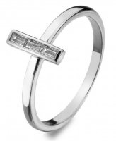 Virtue - Linear, Baguette Cut Cubic Zirconia Set, Sterling Silver Ring, Size P