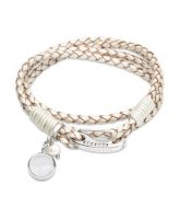 Unique - Cubic Zirconia and Pearl Set, Leather and Stainless Steel Pearl Bracelet