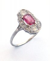 1925 - Cluster Ring, Ruby and Diamond Set in Platinum