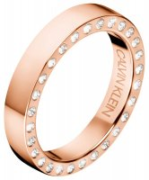 Calvin Klein - Crystal Set, Rose Gold Plated Stainless Steel Ring, Size N