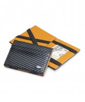 Dalvey - Flip Wallet, Carbon Fibre Black with Orange