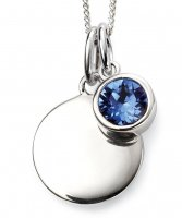 Gecko - Beginnings, September Birthstone, Swarovski Crystal Sapphire Set, Sterling Silver Pendant, Size 41cm - 46cm