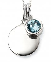 Gecko - Beginnings, March Birthstone, Swarovski Crystal Aquamarine Set, Sterling Silver Pendant, Size 41cm - 46cm