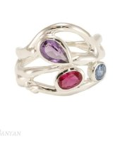 Banyan - Multi-coloured Stones Set, Sterling Silver Ring, Size T