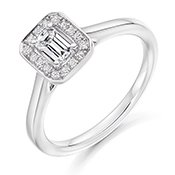 Guest and Philips - Platinum and Diamond Emerald Cut Cluster Ring Size M