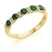 Guest and Philips - 9ct Yellow Gold, Round Brilliant Emerald Half Eternity Ring