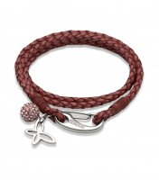 Unique - Dark Pink Leather Stainless Steel Bracelet, Size 19cm