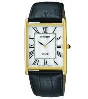 Seiko - Gents Solar, Yellow Gold Plated and Black Leather Watch