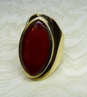 Antique Guest and Philips - Yellow Gold Cornelian Set Single Stone Ring