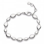 Kit Heath - Coast Pebble, Rhodium Plated Linking Pebble Bracelet
