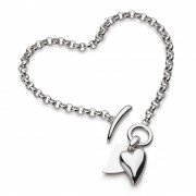 Kit Heath - Desire Love Duet, Sterling Silver - T-Bar Necklace, Size 16""