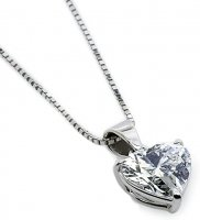 Carat London - Heart Shaped Stone Set, 9ct. White Gold Pendant and Chain, Size 45cm