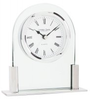 London Clock - Glass & Silver Finish Arch Top Mantel Clock