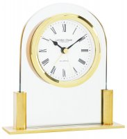 London Clock - Glass & Gold Finish Arch Top Mantel Clock
