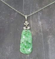 Antique Guest and Philips - White Gold and Platinum - Carved Jade and Diamond Set, Pendant