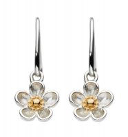 Kit Heath - Wood Rose, Sterling Silver with Yellow Gold Plating Drop Earrings