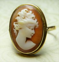 Antique Guest and Philips - 18ct Yellow Gold Oval carved Shell Set Cameo Ring