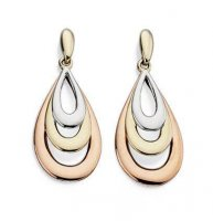 Gecko - Elements, 9ct Rose, Yellow and White Gold Teardrop Earrings
