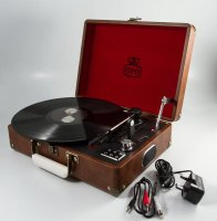 GPO Retro - Attache Turntable in Vintage Brown Leather