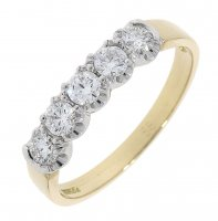 Guest and Philips - 18ct Yellow and White Gold Diamond Set, 5 Stone Eternity Ring Size N