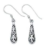 Gecko - Beginnings, Small Silver Filigree Teardrop Earrings
