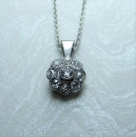 Antique Guest and Philips - White Gold Old Cut Diamond, Milligrain set Set, Flower Cluster pendant