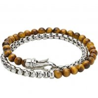 Unique - Tiger Eye Beads And Steel Lobster Clasp Bracelet, Size 21cm