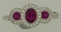Guest and Philips - Diamond 0.13 Ruby0.76ct Set, White Gold - - Cluster Ring, Size L