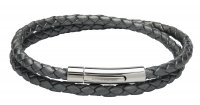 Unique - Stainless Steel - Leather - Silver Grey Bracelet, Size 19cm