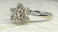 Antique Guest and Philips - White Gold and Diamond Cluster Ring