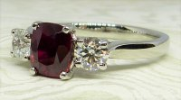 Antique Guest and Philips - Platinum and Ruby - Three Stone Ring