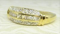 Antique Guest and Philips - Yellow Gold and Diamond - Three Row Cluster Ring
