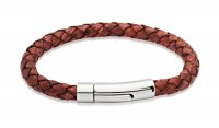 Unique - Leather and Stainless Steel Bracelet, Size 23CM