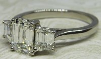 Antique Guest and Philips - 1.05ct Platinum and Diamond Set Three Stone Ring