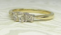 Antique Guest and Philips - Yellow Gold and Diamond - Three Stone Ring