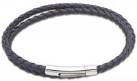 Unique - Double Wrap Leather/Stainless Steel Bracelet, Size 21cm