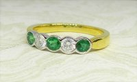 Antique Guest and Philips - Emerald Set, Yellow Gold - Five Stone Ring