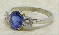 Antique Guest and Philips - 1.60ct Sapphire Set, Platinum - Three Stone Ring