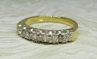 Antique Guest and Philips - 0.35ct Yellow and White Gold Diamond Set Half Eternity Ring