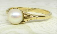 Antique Guest and Philips - 6-6.5mmPearl Set, Yellow Gold - Single Stone Ring